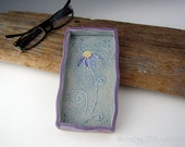 Pottery Tray in Blue and Purple with Echinacea Flower - Eyeglasses Holder / Jewelry Tray - by DirtKicker Pottery