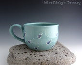 Pottery Rainy Day Mug with Big Raindrops - Large Mug - Soup Mug - Coffee Mug - by DirtKicker Pottery