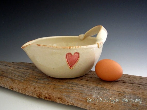 Pottery Mixing Bowl in Rustic White with Country Heart - Pottery Bowl - Egg Bowl - Batter Bowl - by DirtKicker Pottery