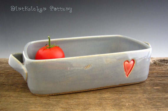 Pottery Baking Dish in Rustic Blue with Heart Design - Casserole Pan - by DirtKicker Pottery