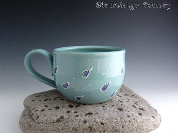 Pottery Rainy Day Mug with Big Raindrops - Large Mug - Soup Mug - Coffee Mug - by DirtKicker Pottery