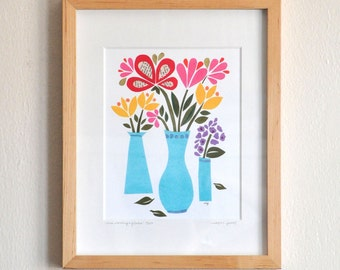 This Morning's Flowers - Hand-Embellished Print - Limited Edition by Megan Jewel