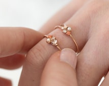 Blush Mini Cluster Ring in 14k Gold // Zircon, Coral, Diamond, and Pearl Ring / Birthstone Mothers Ring Gift / Custom Birthstone Ring