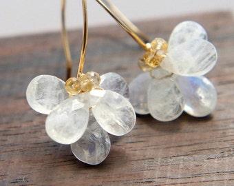 Rainbow Moonstone Earrings, June Birthstone Jewelry, White Flower Earrings, Wedding Jewelry