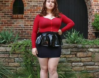 Black Matte vs Vinyl Peplum Skirt