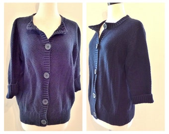 Solid Blue Waffle Knit Cotton Button Down Sweater. Classic Navy Big Button Cardigan Top. 3 Quarter SLeeve Jacket. Nautical. Uniform.
