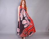 Vintage 70s MAXI DRESS / 1970s Baroque Feathers & Tassels Print Cotton Draped Long Boho Dress