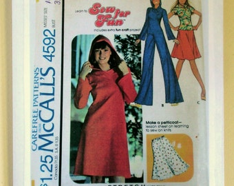 Ladies' Dress, Pants, Skirt and Petticoat, and Pullover Top - McCalls 4592 - Vintage Size 10 Sewing Pattern