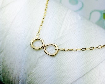 Forged Vermeil 14k Gold - Infinity symbol necklace / infinity necklace/ 14k gold necklace/ infinity charm / figure eight necklace