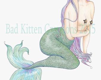 "Mermaid Portrait Custom Art - You as a Mermaid pin-up. 9""x13"""