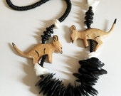 Vintage Kitsch Wood and Shell Kangaroo Necklace