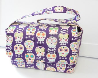 Super Size Coupon Organizer / Budget Organizer Holder Box - Attaches to Your Shopping Cart - Sugar Skull Bonehead on Purple - Pick your Size