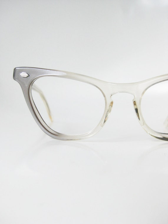 cat eye blue clear glasses womens 1960s cateye eyeglasses glasses eyeglass frames dusty blue smoke shiny