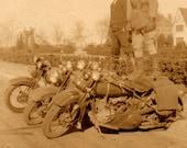 Harley Davidson, vintage bikers photograph