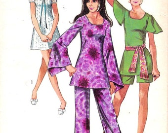 Simplicity 8783 1970s Mini Dress Tunic Pants and Shorts Vintage Sewing Pattern Size 12 Bust 32 Babydoll Dress