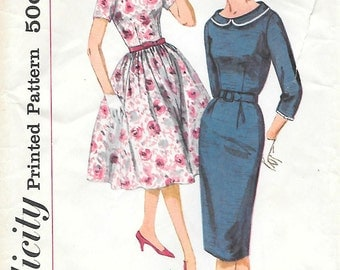 Simplicity 2797 1950s Wide Neck Dress with Two Skirts Vintage Sewing Pattern Size 12 Bust 32 Wiggle Skirt Full Skirt