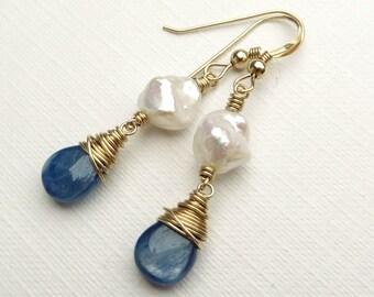 Blue Kyanite White Keishi Pearls Gold Earrings