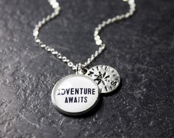 Adventure Awaits Necklace - Compass Necklace - Wanderlust Necklace - Adventure Pendant - Travel Necklace