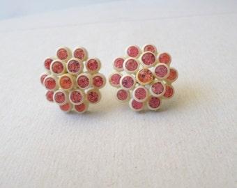 Vintage Elegant Pink Rhinestones White Plastic Earrings Screw On