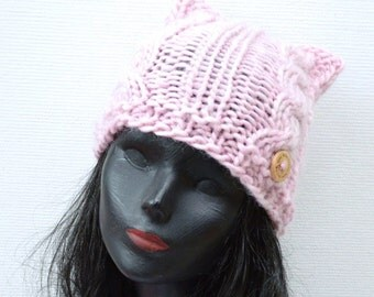 Pastel Pink Cable Cat Beanie  - Hand Knit Wool Cat Hat