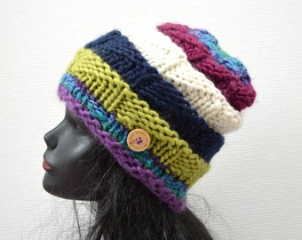 Chunky Knit Beanie  - Warm Wool Winter Hat - Nordic Island Beanie - Multi colour Striped