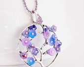 purple flowering tree of life necklace, symbolic jewelry, tree of life jewelry, blueberry, amethyst, blossom