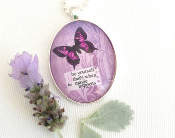 Be Yourself, quote necklace, purple butterfly necklace, positive quote jewelry, butterfly pendant