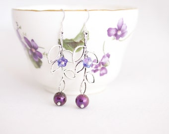 leaf earrings, amethyst purple earrings, woodland twig jewelry, branch earrings