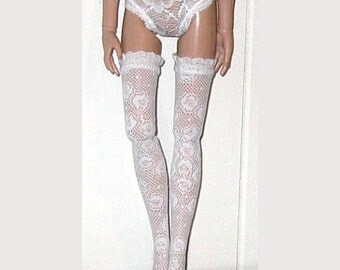 """NEW Ready to Wear White Floral Lace w/ Ruffle Trim Thigh High Stockings Fit Ellowyne Wilde Prudence Lizette Amber 16"""""""