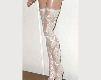"""Ready to Wear Sheer Ivory Lace Thigh High Stockings Fit DeeAnna Denton Peggy Harcourt Lara Croft 17"""""""