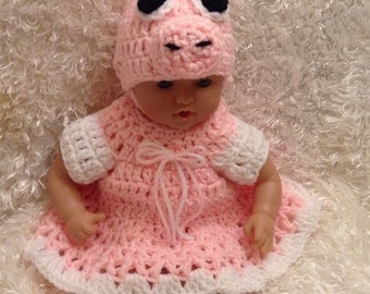 12  and 15 inch doll clothes  Pig Dress Set