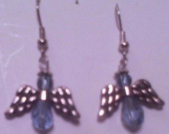 Angle Earrings Light Blue glass Crystal Beads and Metal wings and halo Hand made in USA