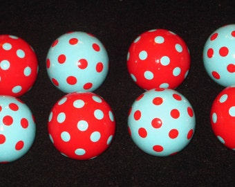 Ready to Ship - Set of 8 ~ 1 1/2 inch ~ ROUND Knobs - TURQUOISE & RED Polka Dots - Hand Painted Wooden Knobs