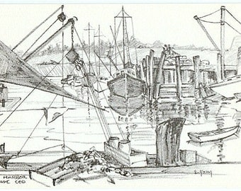 Vintage Cape Cod Postcard - Rock Harbor, Orleans -- Artist Signed, E. Young (Unused)