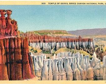 Utah Vintage Postcard - Temple of Osiris at Bryce Canyon National Park (Unused)
