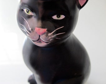 Black Cat Halloween Candle Holder SAKURA, Vintage Collectible Hand Painted Kitty with Pumpkin