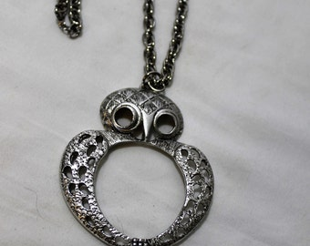 Vintage Large Owl Pendant Necklace