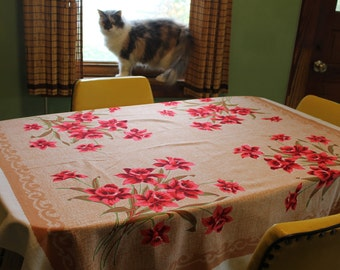 Vintage Red Daffodil Print Cotton Tablecloth, 48 X 52