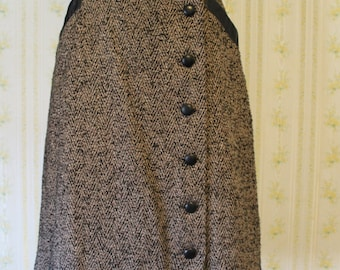 Awesome 1970s Brown Herringbone Tweed A-Line Skirt with Pleather Trim Small