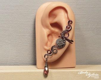 silver and purple STEAMPUNK EAR CUFF - wire wrapped ear cuff, steampunk ear wrap, steampunk jewelry, no piercing ear cuff, crystal jewelry