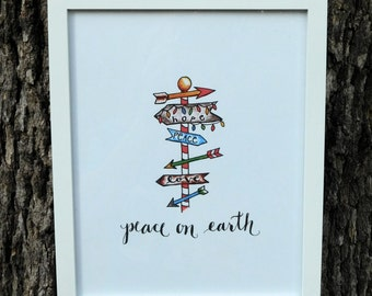 Art Print - Peace on Earth Holiday Signpost
