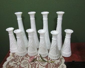 Milk Glass Bud Vases Set of 10  Weddings Vase
