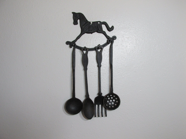 Kitchen decorative wrought iron 5 piece utensil set - Wrought iron silverware ...
