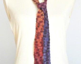 Tie Fashion - Crochet Multicolor Long Narrow Scarf/Tie