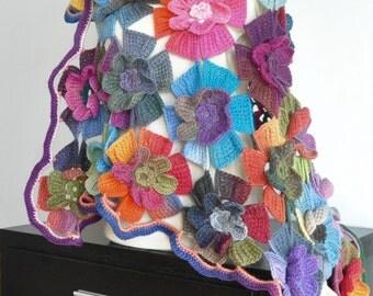 Mermaid Spell - Bright - Crochet Multicolor 3D Flower Shawl