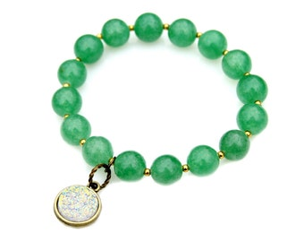 Icy Opal White Druzy Charm Bracelet Green Jade Bead Chinese Jade Stacking Stretch Bracelet High Fashion Style Asian Chic Flare by Mei Faith