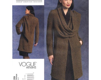 Womens Jacket Pattern Vogue 1129 Easy Jacket Draped Scarf Coat Designer Donna Karan Pattern Womens Sewing Pattern Size 6 to 12 UNCUT