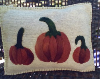 Wool pumpkin pillow