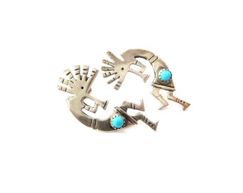 Southwestern Unmarked Sterling Silver Fertility & Agriculture God Kokopelli and Genuine Turquoise Cabochon Hopi Indian Pierced Earrings