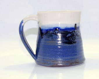 16 oz Mug Ceramic Colorful Ceramic Mug Large Blue White and Black
